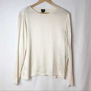 Eileen Fisher Crinkled Silk Long Sleeve Blouse  M